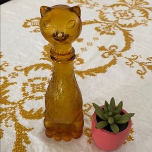 Vintage Yellow Glass Cat Decanter